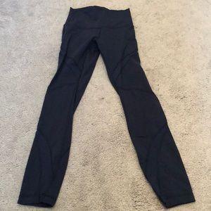 Navy Blue Mesh Leggings